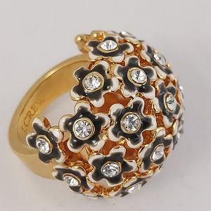 J Crew Dome Ring goldtone enamel flowers rhineston